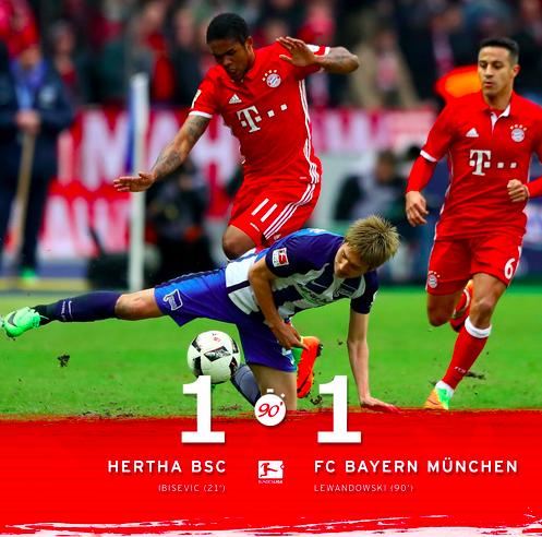 El Bayern Empata Ante El Hertha Con Un Gol De Lewandowski En La Prolongación