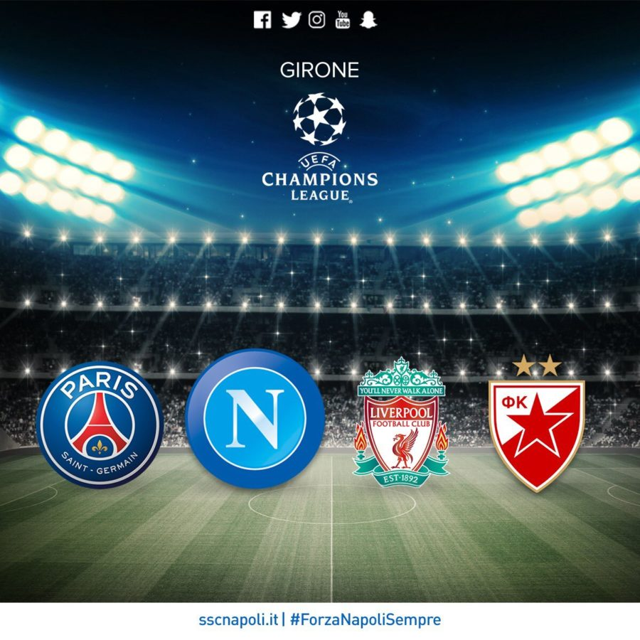 Napoli Will Face PSG, Liverpool And Estrella Roja In The Group Stage Of The Champions League.